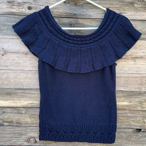 ANTHROPOLOGIE | Navy Blue Chunky Knit Sweater Top